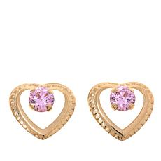 "14K Gold Kid's Pink CZ ""Heart"" Stud Earrings"