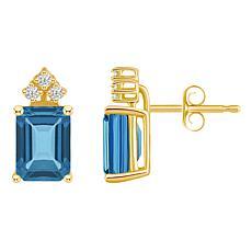 14K Gold London Blue Topaz and Diamond 8x6mm Emerald-Cut Stud Earrings