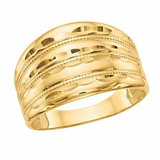 14K Gold Polished and Diamond-Cut Ridged Fashion Dome Ring