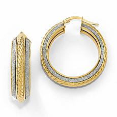 14K Gold Polished Glitter-Infused Hoop Earrings