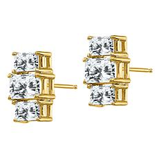 14K Gold Radiant-Cut 3-Stone Moissanite Earrings