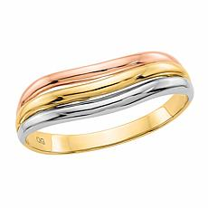 14K Gold Tri-Color 3-Row Ring
