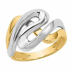 14K Gold Two-Tone Swirl Ring