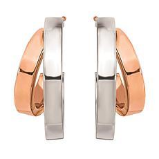 """14K Rose and White Gold 11/16"""" Tube Double-Hoop Earrings"""