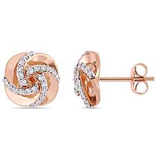 14K Rose Gold 0.30 ctw Diamond Swirl Stud Earrings