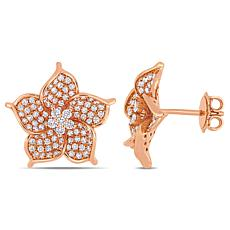 14K Rose Gold 1.13ctw Diamond Floral Stud Earrings