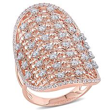 14K Rose Gold 1.16ctw Diamond Elongated Ring