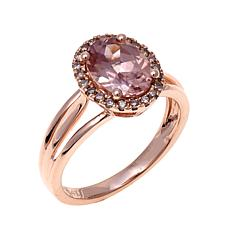 14K Rose Gold 2.5ctw Pink Zircon and Diamond Ring