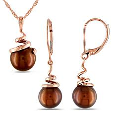 14K Rose Gold 8-8.5mm Brown Cultured Pearl Spiral Earrings and Pendant