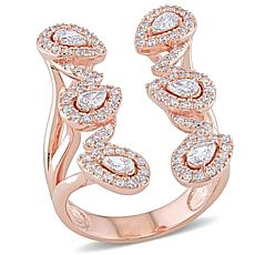 14K Rose Gold .95ctw Diamond Open Coil Leaf Ring