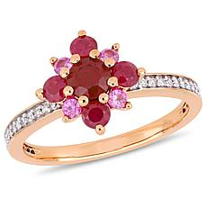 14K Rose Gold Ruby, Pink Sapphire and Diamond Clustered Star Ring