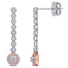 14K Two-Tone .30ctw Diamond Drop Earrings