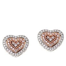 14K Two-Tone.32ct Pink and White Diamond Heart Stud Earrings