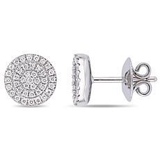 14K White Gold 0.32ctw Diamond Pavé Halo Stud Earrings