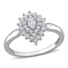 14K White Gold 0.48ctw Diamond Double Halo Pear-Shaped Engagement Ring