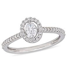 14K White Gold 0.49ctw Oval Diamond Engagement Ring
