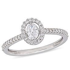 14K White Gold 0.49ctw Oval Diamond Engagement Ring