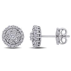 14K White Gold 0.57ctw Diamond Circular Stud Earrings