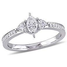14K White Gold 0.58ctw Marquise-Shape Diamond Ring