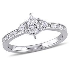 14K White Gold 0.58ctw Marquise-Shape Diamond Ring