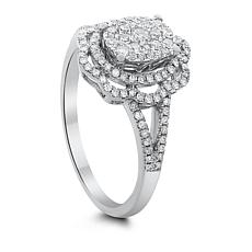 14K White Gold 0.5ctw Diamond Floral Ring
