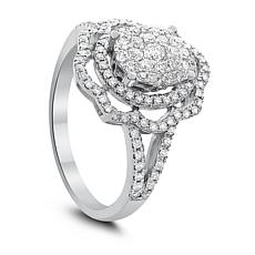 14K White Gold 0.75ctw Diamond Floral Ring