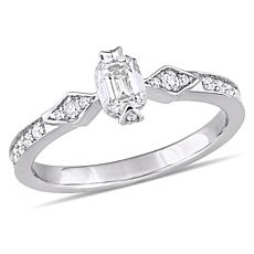 14K White Gold 0.75ctw Diamond Vintage-Look Engagement Ring