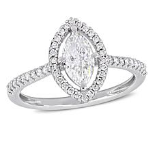 14K White Gold 0.98ctw Marquise Diamond Engagement Ring