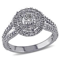 14K White Gold 0.98ctw White Diamond Double Halo Ring
