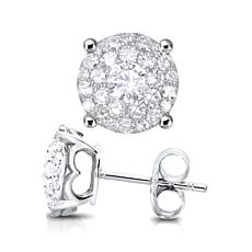 14K White Gold 1.01ctw Diamond Round Stud Earrings