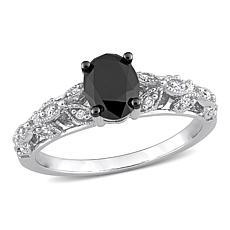 14K White Gold 1.03ctw Black and White Diamond Vintage Engagement Ring