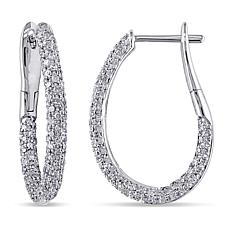14K White Gold 1.08ctw White Diamond Pavé Hoop Earrings