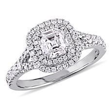 14K White Gold 1.18ctw Asscher-Cut Diamond Double Halo Engagement Ring