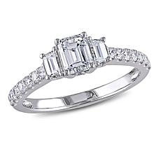 14K White Gold 1.25ctw Emerald-Cut 3-Stone Diamond Engagement Ring