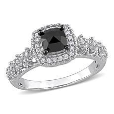 14K White Gold 1.36ctw Black and White Diamond Halo Engagement Ring