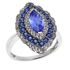 14K White Gold 1.67ctw Tanzanite and Sapphire Ring