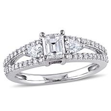 14K White Gold 1ctw 3-Stone Split Shank Diamond Engagement Ring
