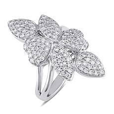 14K White Gold 1ctw Diamond Elongated Floral Pavé Ring
