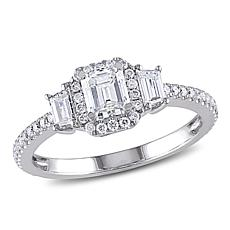 14K White Gold 1ctw Diamond Emerald-Cut Station Ring