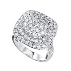 14K White Gold 2.03ctw Diamond Framed Cushion Ring