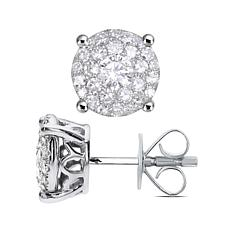 14K White Gold .25ctw Diamond Rounded Shape Stud Earrings