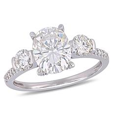 14K White Gold 2.66ctw Moissanite and Diamond Engagement Ring
