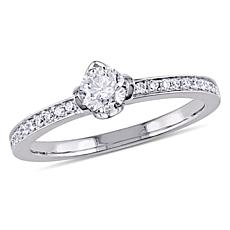 "14K White Gold .495ctw Round ""Floral"" Diamond Ring"