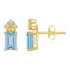 14K White Gold 6x4mm Emerald-Cut Aquamarine and 3-Diamond Earrings