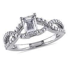 14K White Gold .85ctw White Diamond Double Figure 8 Ring