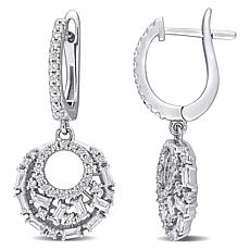 14K White Gold .92ctw Diamond Multi-Cut Stone Drop Earrings