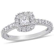 14K White Gold .97ctw Diamond Cushion-Cut Halo Engagement Ring