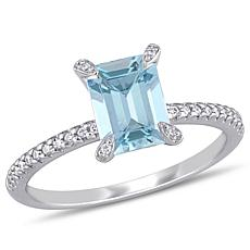 14K White Gold Diamond and Aquamarine Octagonal Ring
