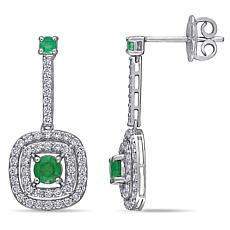 14K White Gold Diamond and Emerald Dangle Earrings