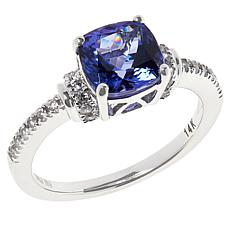14K White Gold Oval Tanzanite and White Zircon Cushion Ring